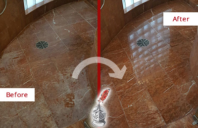 Before and After Picture of Damaged Thompson's Station Marble Floor with Sealed Stone