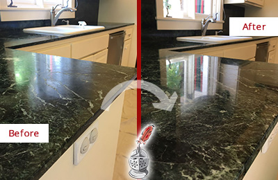 Before and After Picture of a Green Hills Marble Kitchen Countertop Honed to Remove Water Marks