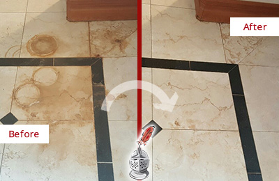 Before and After Picture of a Berry Hill Marble Floor Honed to Remove Rust Stains