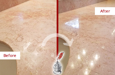 Before and After Picture of a Berry Hill Marble Vanity Top Honed to Eliminate Water Spots