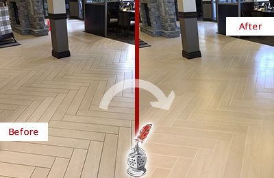Before and After Picture of a Bellevue Lobby Floor Cleaned to Even the Grout Color