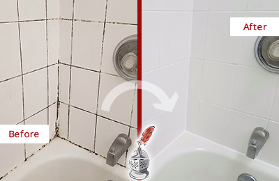 Before and After Picture of a Bellevue Tub Grout Cleaned to Eliminate Mold