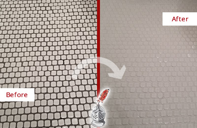 Before and After Picture of a College Grove Mosaic Tile floor Grout Cleaned to Remove Dirt