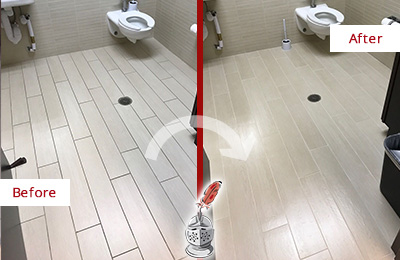 Before and After Picture of a College Grove Office Restroom's Grout Cleaned to Remove Dirt