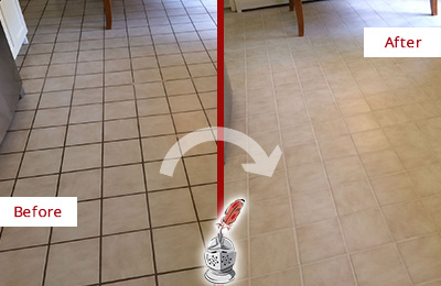 Before and After Picture of a Green Hills Kitchen Tile Floor with Recolored Grout