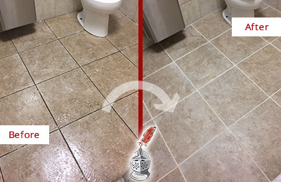 Before and After Picture of a Green Hills Office Restroom Floor Recolored Grout