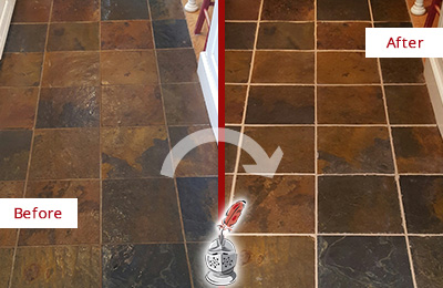 Before and After Picture of a Brentwood Slate Floor Recolored Grout