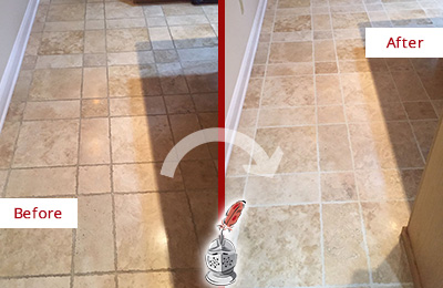 Before and After Picture of a Green Hills Travertine Kitchen Floor Recolored Grout