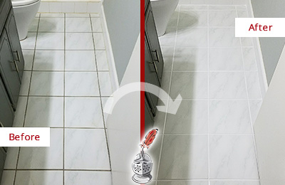 Before and After Picture of a Brentwood White Ceramic Tile with Recolored Grout