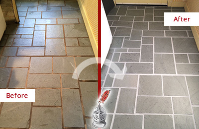 Before and After Picture of Damaged College Grove Slate Floor with Sealed Grout