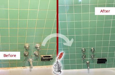 Before and After Picture of a Brentwood Bath Tub Grout Sealed to Avoid Water Damage