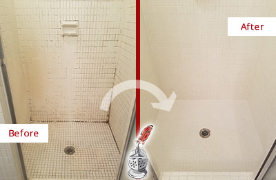 Before and After Picture of a College Grove Bathroom Grout Sealed to Remove Mold