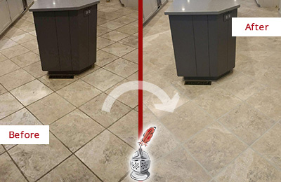 Before and After Picture of a College Grove Kitchen Floor Grout Sealed to Remove Stains