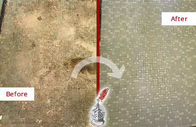 Before and After Picture of a Ridgetop Mosaic Shower Cleaned to Eliminate Embedded Dirt