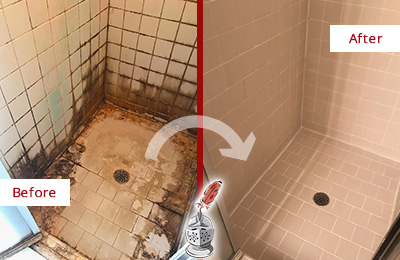 Before and After Picture of a Thompson's Station Ceramic Shower Cleaned to Remove Grime